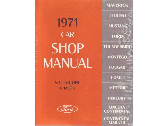 SHOP MANUAL, PRINTED, 1971 FORD MERCURY CAR