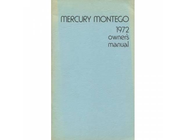 Original Ford Owners Manual 1972 Mercury Montego 66