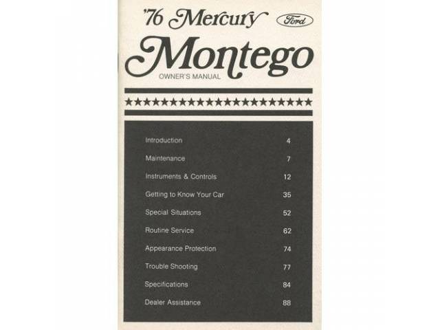 Original Ford Owners Manual 1976 Mercury Montego 102