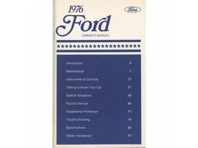 OWNERS MANUAL, Original Ford, 108 pages, nos