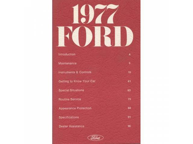 OWNERS MANUAL, Original Ford, 116 pages, nos