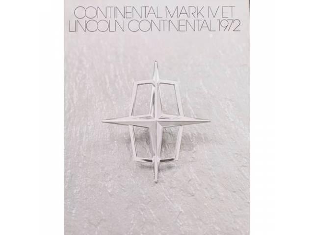 1972 LINCOLN CONTINENTAL MARK 4 SALES BROCHURE