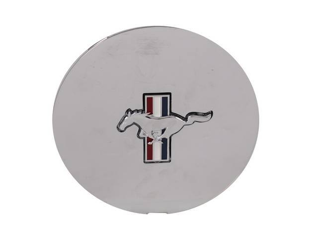 Wheel Cover, 6 3/4 Inch Chrome, Horse And