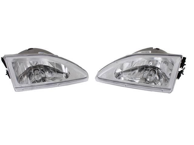 HEAD LIGHT SET COBRA CHROME DIAMOND STYLE CLEAR