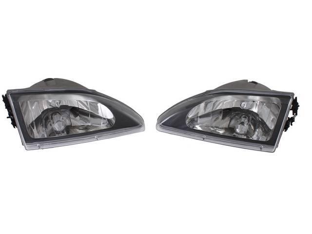 HEAD LIGHT SET COBRA BLACK DIAMOND STYLE CLEAR