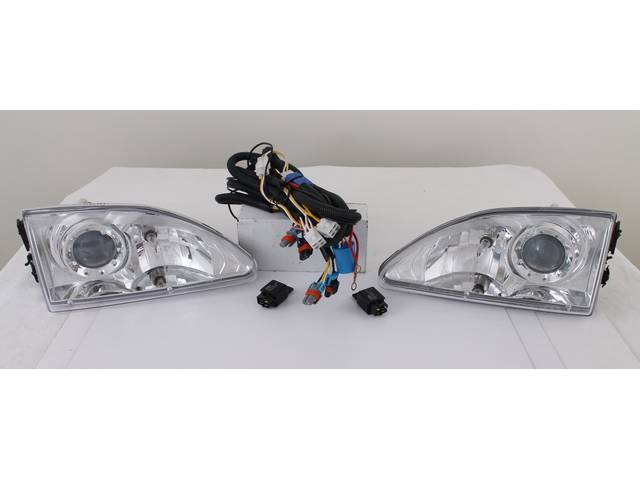 HEAD LIGHT SET CHROME PROJECTOR STYLE CLEAR VERSION