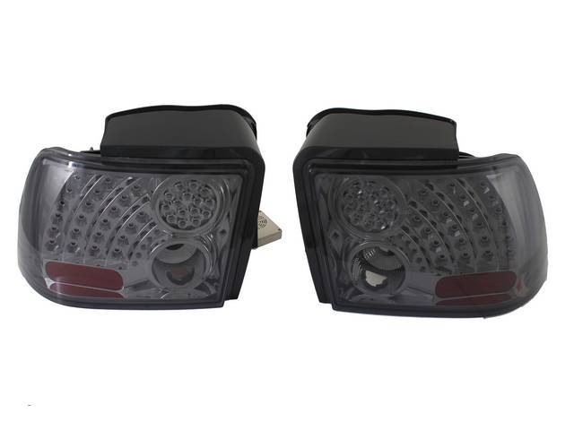Tail Light Set, Euro Style, W/ Led Lights, Smoke / Chrome, Incl Lh And Rh Side, These Units Feature A Chrome Housing With Smoke Lenses