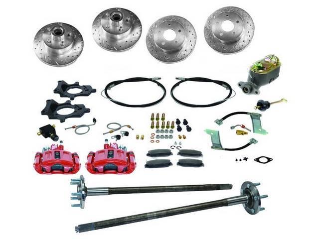 SSBC USA 5 Lug 4 Wheel Disc Brake Conversion Kit 87-92 (Upgrade Rotors/Red Calipers)
