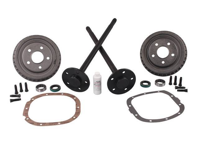 Axle And Drum Kit, 5 Lug Conversion, Street Bandit, 28 Spline, Incl (2) 1541h Carbon Steel 5 Lug Axles, (2) 9 Inch 5 Lug Rear Drums, (2) Outer Bearings, (2) Seals, (10) Wheel Studs, Axle Gasket And Friction Modifier