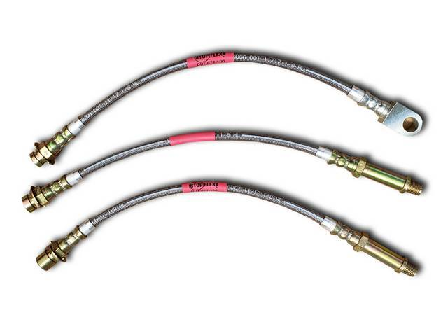 BRAKE HOSE SET BRAIDED STAINLESS 3 PIECES INCL