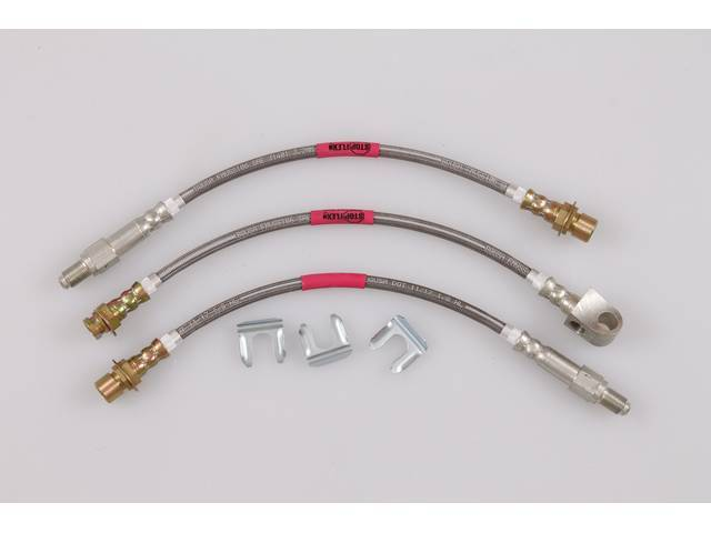 Brake Hose Set, Braided Stainless, 3 Pieces, Incl