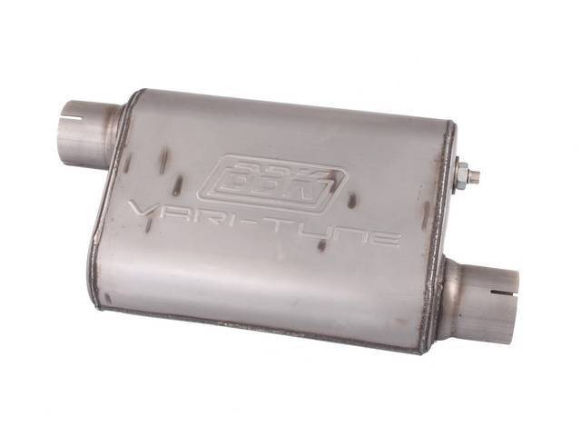 Muffler, Bbk Performance, Vari Tune, Stainless Steel, Offset Design, W/ 2 1/2 Inch Inlet And Outlet, Fully Adjustable Sound And Flow