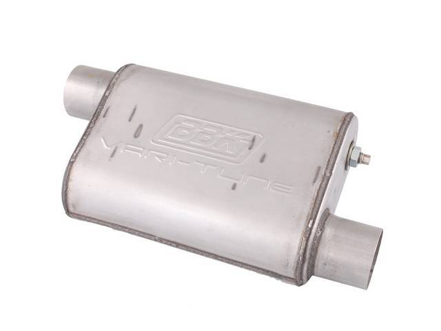 Muffler, Bbk Performance, Vari Tune, Aluminized, Offset Design, W/ 2 3/4 Inch Inlet And Outlet, Fully Adjustable Sound And Flow