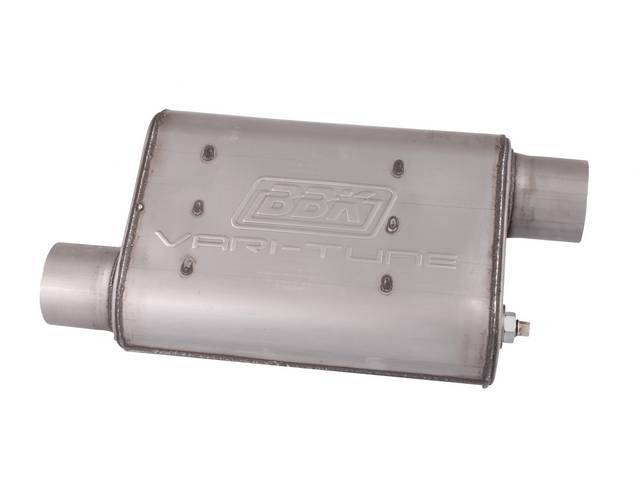 Muffler, Bbk Performance, Vari Tune, Stainless Steel, Offset Design, W/ 2 3/4 Inch Inlet And Outlet, Fully Adjustable Sound And Flow