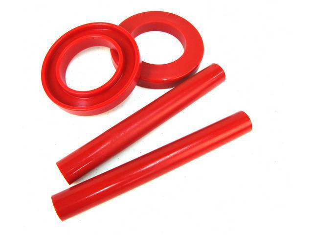 Insulators, Front Coil Springs, Prothane, Red, Incl Upper And Lower Insulators