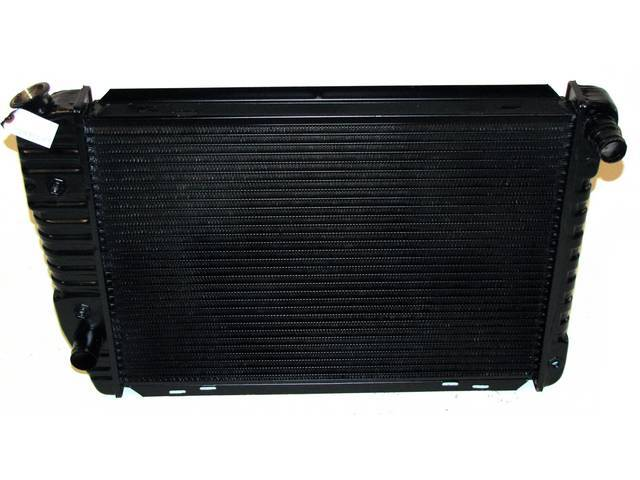 Radiator, Oe Style, Down Flow, Black Finish, Copper / Brass Construction, 24 1/2 Inch X 17 1/4 Inch X 2 Inch, 3 Row, Inlet 1 1/4 Inch Rh, Outlet 1 1/4 Inch Rh, Side Mount, W/ 8 Inch Trans Cooler, Repro