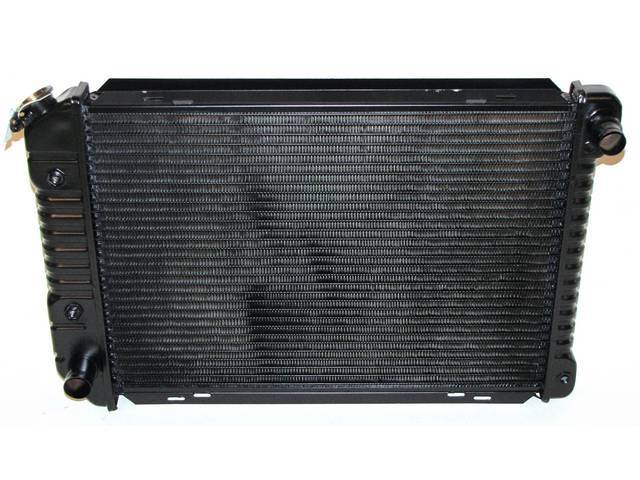 Radiator, Oe Style, Cross Flow, Black Finish, Copper / Brass Construction, 24 1/2 Inch X 17 3/4 Inch X 1 1/4 Inch, 2 Row, Inlet 1 1/4 Inch Rh, Outlet 1 1/2 Inch Lh, Saddle Mount, W/ 8 Inch Trans Cooler, Repro