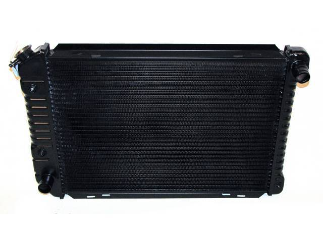 Radiator, Oe Style, Cross Flow, Black Finish, Copper / Brass Construction, 24 1/2 Inch X 17 3/4 Inch X 2 Inch, 3 Row, Inlet 1 1/4 Inch Rh, Outlet 1 1/2 Inch Lh, Saddle Mount, W/ 8 Inch Trans Cooler, Repro