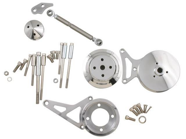 Bracket And Pulley Kit, Complete, Polished, Incl Power