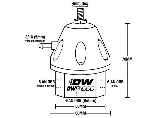 regulator assy  adjustable fuel pressure  universal style  deatschwerks  titanium anodized  incl