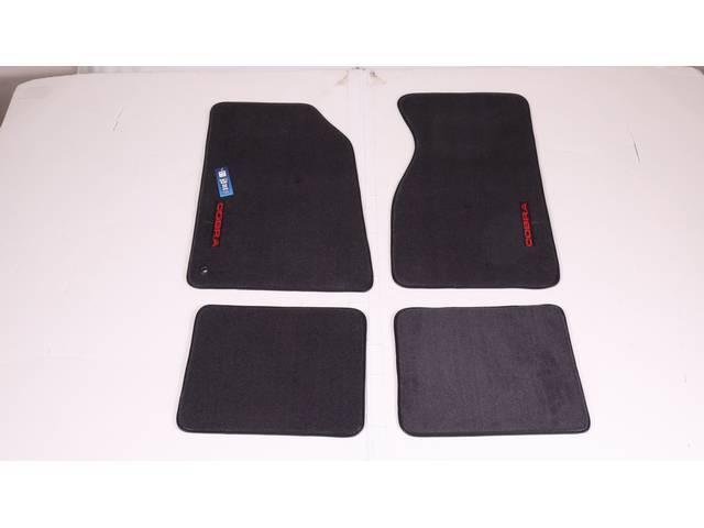 Floor Mats, Carpet, Cut Pile Nylon, Dark Charcoal, W/ Red *Cobra * Text, Repro, Nibbed Backing For Non-Slip Design