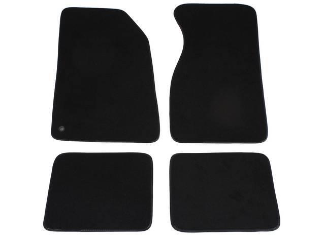 Floor Mats, Carpet, Cut Pile Nylon, Black / Ebony, W/O Logo, Repro, Nibbed Backing For Non-Slip Design