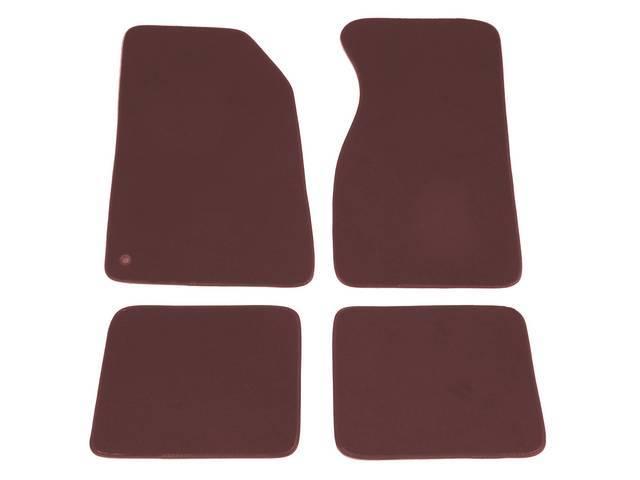 Floor Mats, Carpet, Cut Pile Nylon, Bright Red, W/O Logo, Repro, Nibbed Backing For Non-Slip Design