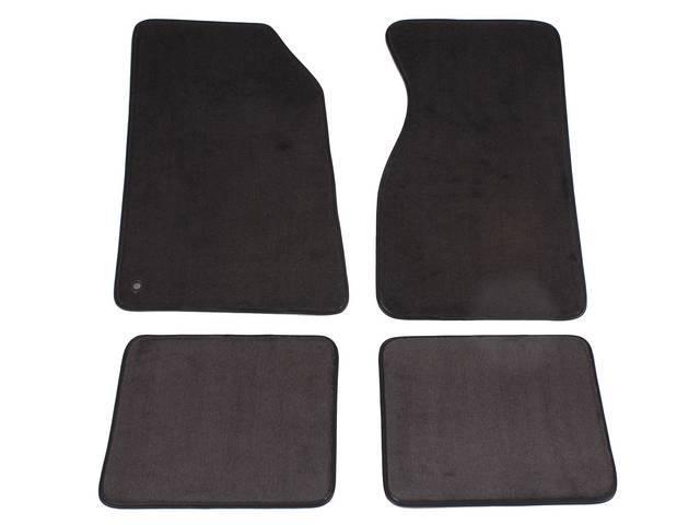 Floor Mats, Carpet, Cut Pile Nylon, Dark Charcoal W/O Logo, Repro, Nibbed Backing For Non-Slip Design