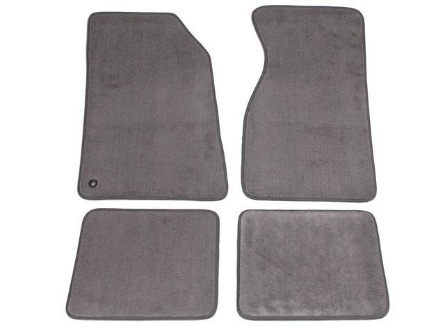 Floor Mats, Carpet, Cut Pile Nylon, Opal Gray, W/O Logo, Repro, Nibbed Backing For Non-Slip Design