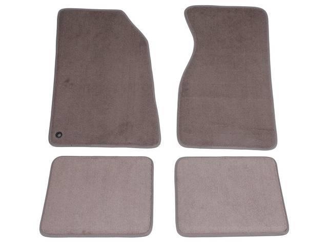 Floor Mats, Carpet, Cut Pile Nylon, Medium Graphite, W/O Logo, Repro, Nibbed Backing For Non-Slip Design