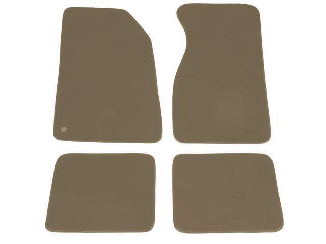 Floor Mats, Carpet, Cut Pile Nylon, Saddle, W/O Logo, Repro, Nibbed Backing For Non-Slip Design