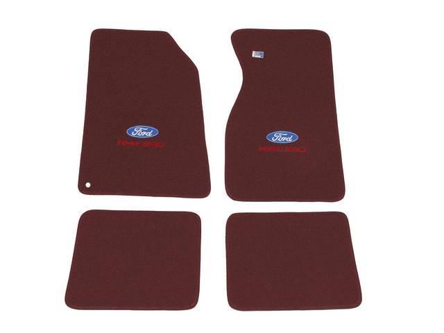 Floor Mats, Carpet, Cut Pile Nylon, Bright Red,