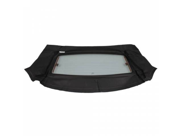 Convertible Rear Window, Black, W/ Solid Glass Curtain,
