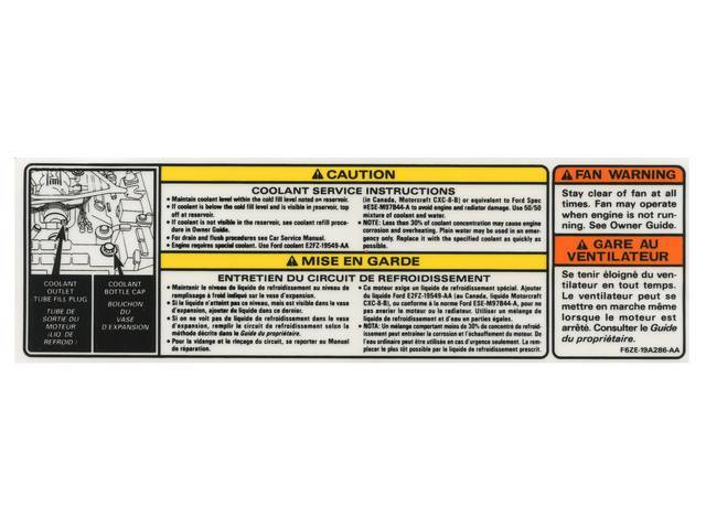 Decal, Service And Information, Coolant, Caution, Fan Warn,