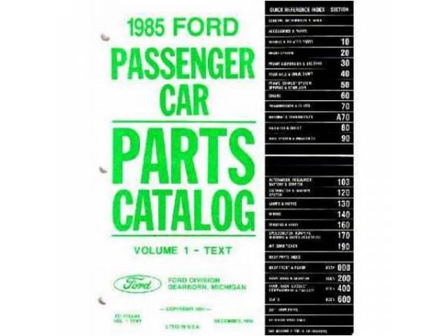 Parts Catalog Reprint Of The Original 1985 Mustang