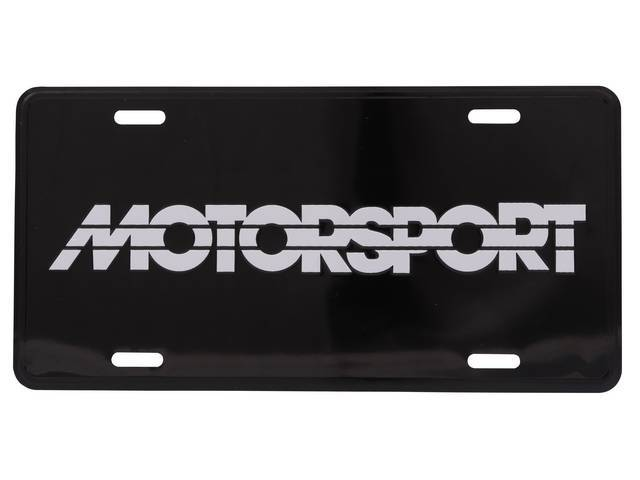 Black With White MOTORSPORT Logo License Plate