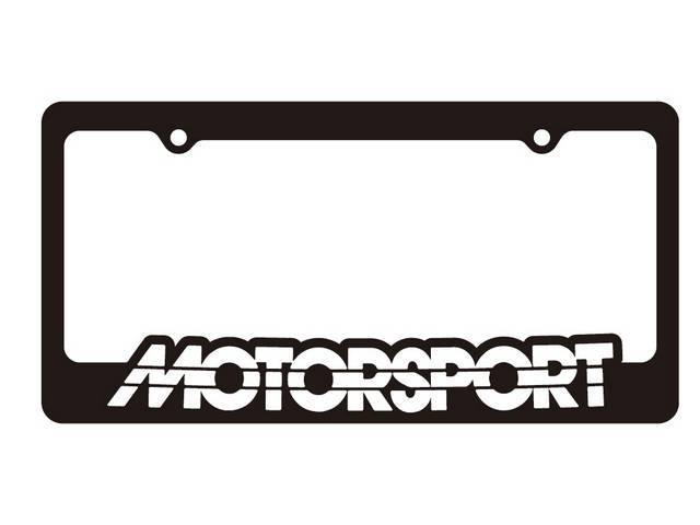 Black With White MOTORSPORT Logo License Plate Frame