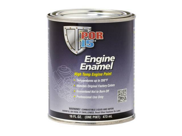 ENGINE ENAMEL, POR-15, Chevrolet Blue, pint, a durable direct to metal coating that creates a smooth, high-gloss finish that withstands the rigors of the engine compartment while improving the look and preventing corrosion of the metal components, withsta