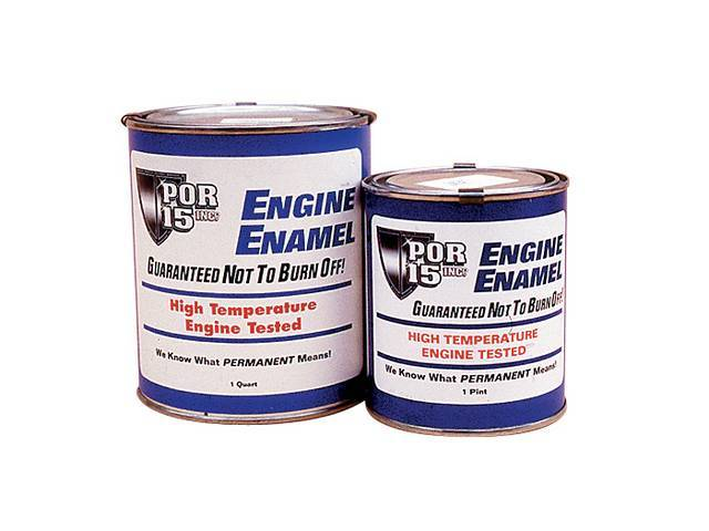 ENGINE ENAMEL, POR-15, Gloss Black, pint, a durable direct to metal coating that creates a smooth, high-gloss finish that withstands the rigors of the engine compartment while improving the look and preventing corrosion of the metal components, withstands