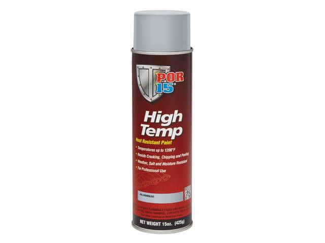 HIGH TEMP COATING, POR-15, Aluminum, 15 ounce aerosol spray can, capable of withstanding extreme temperatures up to 1200 degrees and will resist cracking, chipping, and peeling, sandblasting is the optimum surface preparation before using this product
