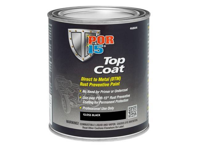TOP COAT, POR-15, Gloss Black, pint, Top Coat is a direct-to-metal coating designed to work incredibly well in all applications where there is a need to preserve substrates susceptible to corrosion, exposure to sunlight and weather means Top Coat has exce