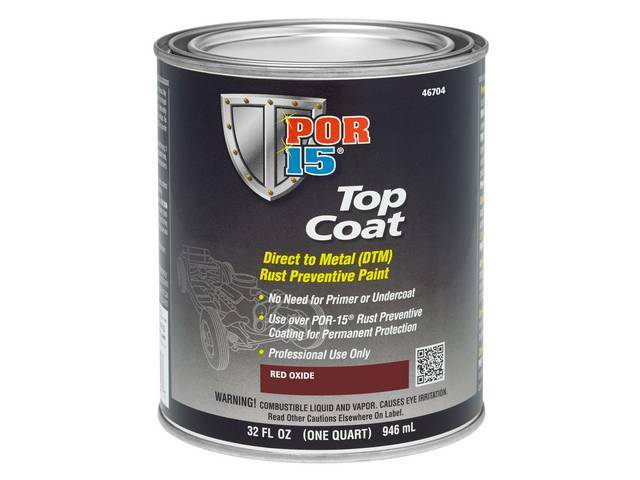 TOP COAT, POR-15, Red Oxide, quart, Top Coat is a direct-to-metal coating designed to work incredibly well in all applications where there is a need to preserve substrates susceptible to corrosion, exposure to sunlight and weather means Top Coat has excep
