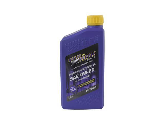 SYNTHETIC OIL, Royal Purple, SAE 0W-20, 1 quart, Popular oil blend sold at most retailers, meets Dexos 1 and ILSAC GF-5 specifications