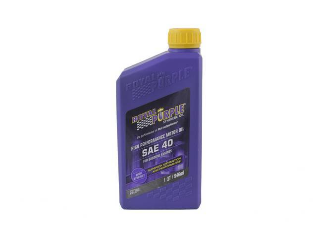 SYNTHETIC OIL, Royal Purple, SAE 0W-40, 1 quart, Popular oil blend sold at most retailers, meets Dexos 1 and ILSAC GF-5 specifications