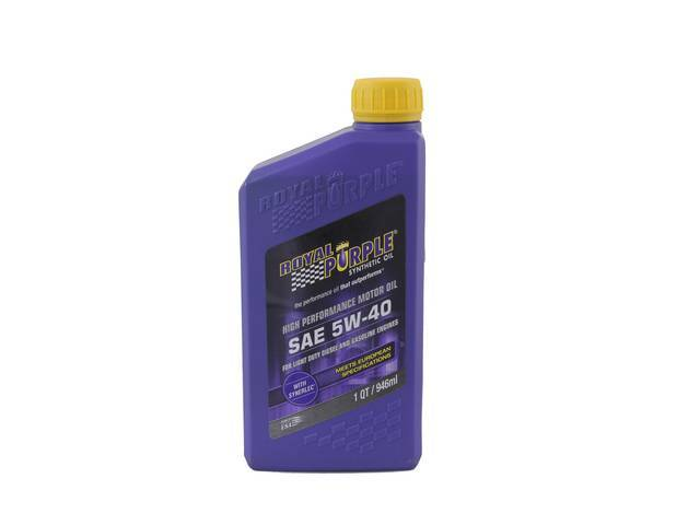 SYNTHETIC OIL, Royal Purple, SAE 5W-40, 1 quart, Popular oil blend sold at most retailers, meets Dexos 1 and ILSAC GF-5 specifications