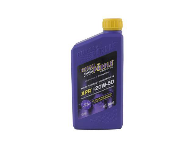 SYNTHETIC OIL, Royal Purple, XPR 20W-50, 1 quart, Extreme Performance Racing, combines high quality synthetic oil w/ performance enhancers and Synerlec technology, formulated for the demands of racing enviroments