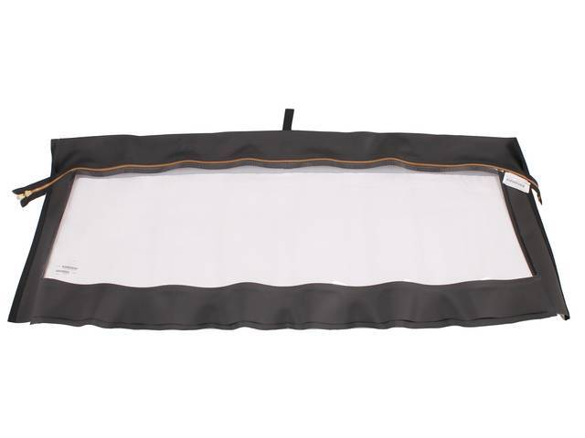 CURTAIN, Convertible Top Rear Window, black vinyl, brass