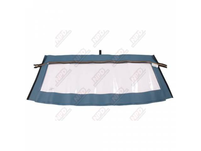 CURTAIN Convertible Top Rear Window blue vinyl brass