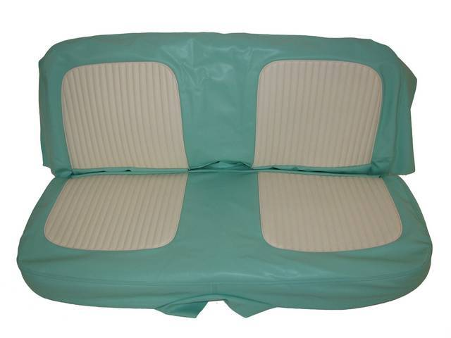 SEAT UPHOLSTERY, TURQUOISE AND WHITE