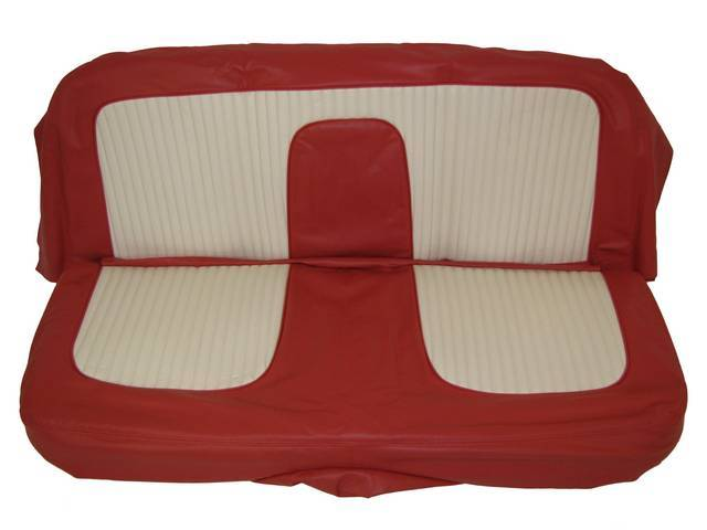 SEAT UPHOLSTERY, DARK RED AND WHITE WITH BACK REST EMBOSSMENT